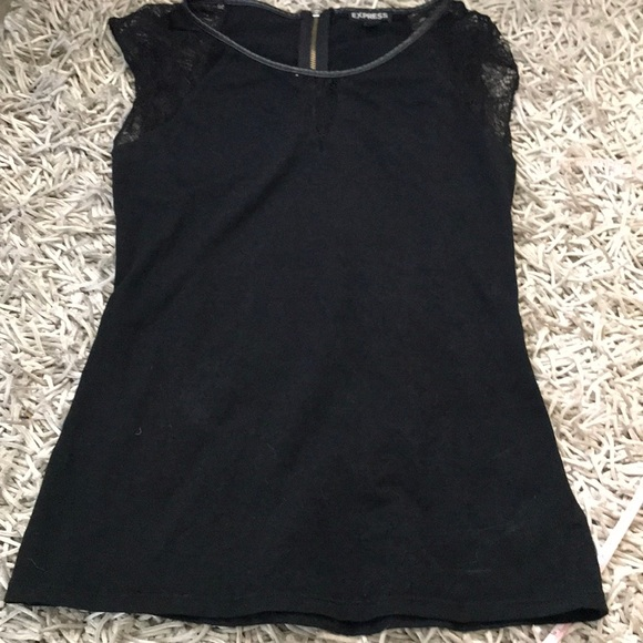 Express Tops - Express Black Sleeveless Jersey Top with lace